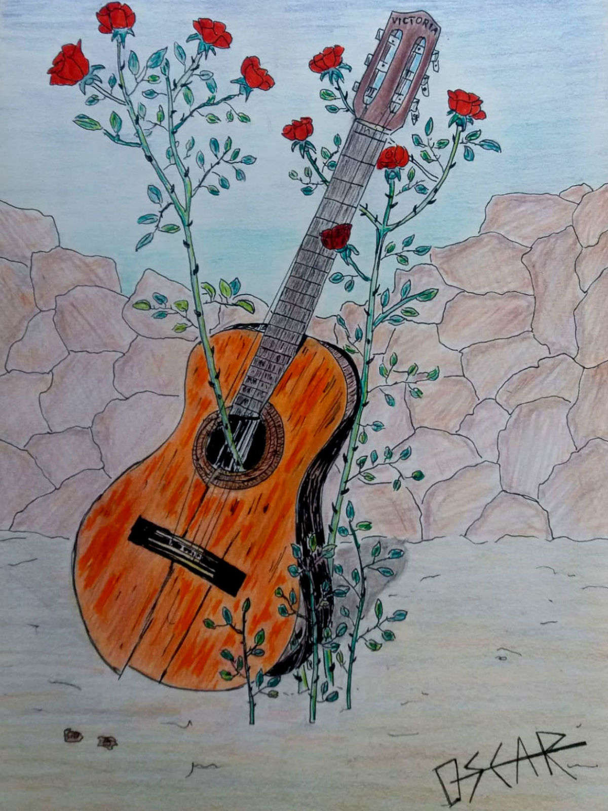dibujo guitarra con rosas