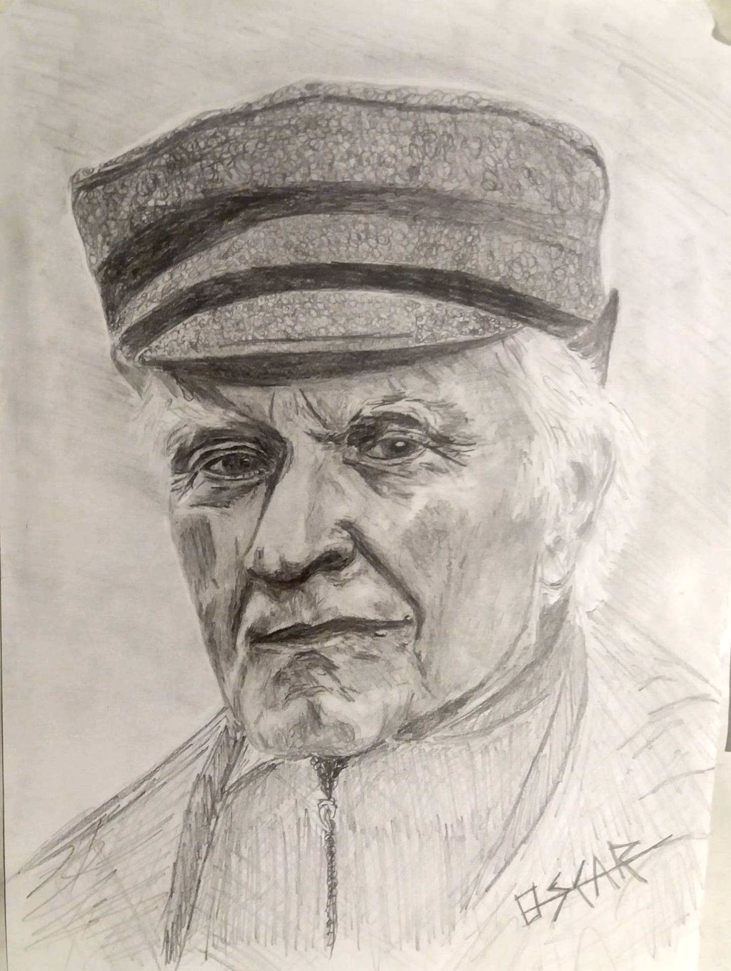 dibujo señor con gorra