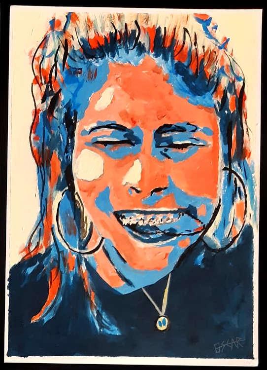 retrato pintado en azul y rojo